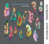 vector colored feathers set.... | Shutterstock .eps vector #286608143