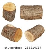 Set Log Fire Wood Isolated On...