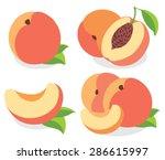 vector peaches. peach fruits ... | Shutterstock .eps vector #286615997