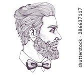 hand drawn portrait of bearded... | Shutterstock .eps vector #286637117