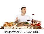 young man taking bread.... | Shutterstock . vector #286641833