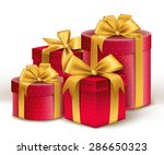 realistic 3d red gifts with... | Shutterstock .eps vector #286650323