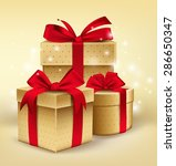 Realistic 3d Golden Gifts With...