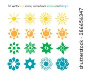 vector set of 16 sun icons ... | Shutterstock .eps vector #286656347