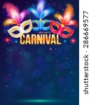 bright carnival masks on dark... | Shutterstock . vector #286669577