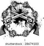 guns emblem whit roses | Shutterstock .eps vector #28674103