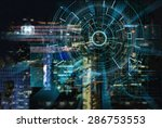 cyber laser target on a night... | Shutterstock . vector #286753553