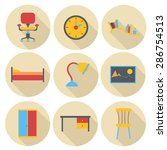 furniture vector icon set  flat ...