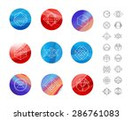set of colored wavy silk... | Shutterstock .eps vector #286761083