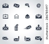 vector black email icon set. | Shutterstock .eps vector #286785497