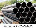 black steel pipe bundle in... | Shutterstock . vector #286809623
