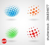 set of color dotted 3d spheres. ... | Shutterstock .eps vector #286834877