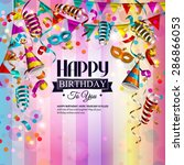 vector birthday card with... | Shutterstock .eps vector #286866053