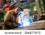 Manufacture Worker Welding...