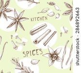 vector pattern with spices.... | Shutterstock .eps vector #286892663