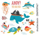 Stock vector set of cute undersea pirate design elements 286909967