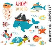 Set Of Cute Undersea Pirate...