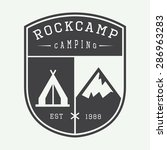 vintage camping logo  badge or... | Shutterstock .eps vector #286963283