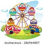 children riding on ferris wheel ... | Shutterstock .eps vector #286964807