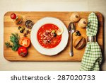 fragrant meat soup with lemon ... | Shutterstock . vector #287020733