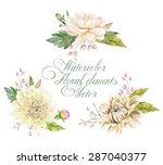 Set Of Watercolor Floral...