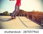 skateboarder legs riding... | Shutterstock . vector #287057963