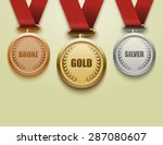 set of gold  silver and bronze... | Shutterstock .eps vector #287080607