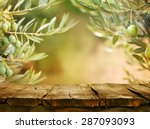 Olives With Table. Wooden Tabl...