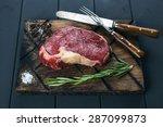 raw fresh meat ribeye steak ... | Shutterstock . vector #287099873