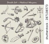 medieval weapons doodles set | Shutterstock .eps vector #287138573