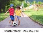 two cute little kids  playing... | Shutterstock . vector #287152643
