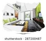 vector interior sketch design.... | Shutterstock .eps vector #287200487