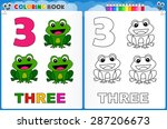 coloring page number three with ... | Shutterstock .eps vector #287206673