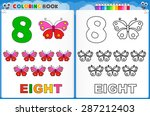 coloring page number eight with ... | Shutterstock .eps vector #287212403