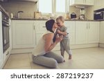 mom with her 2 years old child... | Shutterstock . vector #287219237