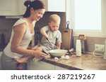 mom with her 2 years old child... | Shutterstock . vector #287219267