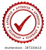 red grunge approved rubber... | Shutterstock .eps vector #287233613