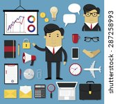 business icons set in modern... | Shutterstock .eps vector #287258993