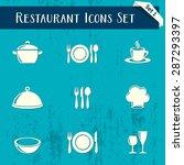 vector restaurant icons retro... | Shutterstock .eps vector #287293397