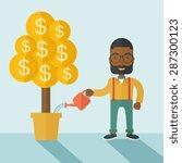 an african businessma standing... | Shutterstock .eps vector #287300123