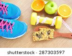 sport and healthy food for diet ...   Shutterstock . vector #287303597