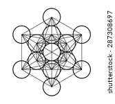 metatron cube  sacred geometry  ... | Shutterstock .eps vector #287308697