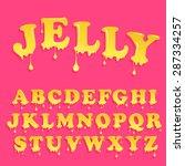 yellow jelly alphabet. glossy... | Shutterstock .eps vector #287334257