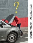 car breakdown  hood open  the...   Shutterstock . vector #287363363