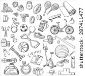 hand drawn fitness doodle set | Shutterstock . vector #287411477