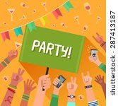youth party concept. a lot of... | Shutterstock .eps vector #287413187