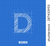 d letter architectural plan on... | Shutterstock .eps vector #287433953