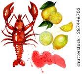 watercolor lobster with lemon.  ...   Shutterstock .eps vector #287446703