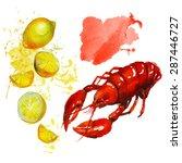 watercolor lobster with lemon.  ...   Shutterstock .eps vector #287446727