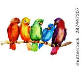 parrot on a branch. watercolor...   Shutterstock .eps vector #287447207
